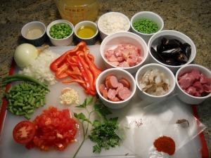 """mise en place"" for paella"
